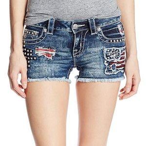 Miss Me Distressed Americana Shorts 25 EUC